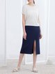 Dark Blue Plain H-line Simple Slit Midi Skirt