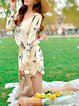 Apricot Polyester Floral Long Sleeve Romper