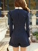 Dark Blue Bow Long Sleeve Polyester Romper