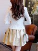 Crew Neck Spandex Long Sleeve Appliqued Sweet Cropped Jacket