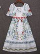 White Swing Square Neck Casual Midi Dress