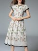 Multicolor Crew Neck Short Sleeve A-line Midi Dress