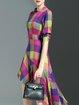 Multicolor Asymmetric Linen Casual Crew Neck Midi Dress