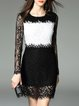 Color-block Long Sleeve Elegant Lace Mini Dress