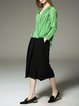 Green V Neck Asymmetric H-line Long Sleeve Blouse