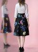 Black Floral Polyester Sweet Printed Midi Skirt