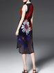 Black Silk Floral-print Casual Floral Midi Dress