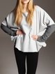Gray Batwing Floral Long Sleeved Top