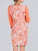 Orange Sheath Printed 3/4 Sleeve Mini Dress