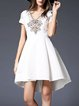 White Girly High Low Mini Dress