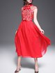 Red Sleeveless Floral Beaded A-line Midi Dress with Belt