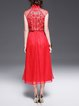 Red Sleeveless Floral Beaded A-line Midi Dress