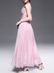 Pink Sleeveless V Neck A-line Beaded Evening Dress