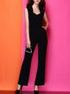 Casual Sheath Paneled Square Neck Sleeveless Jumpsuit