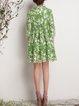 Green 3/4 Sleeve Crew Neck Midi Dress