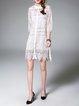 White Silk-blend Half Sleeve Pierced Shift Midi Dress
