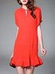 Red Crew Neck Casual Plain Mini Dress