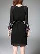 Elegant Chiffon H-line 3/4 Sleeve Tribal Midi Dress