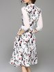 Vintage Stand Collar 3/4 Sleeve Midi Dress with Belt