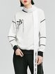 White Crew Neck Long Sleeve Paneled Letter Sweatshirt