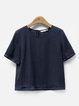 Simple Half Sleeve Crew Neck Linen T-Shirt