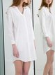 White V Neck 3/4 Sleeve Plain H-line Mini Dress