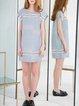 Blue Stripes Short Sleeve H-line Linen Mini Dress