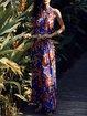 Blue Halter Beach Polyester Maxi Dress