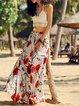 White Two Piece Spaghetti Floral Maxi Dress