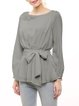 Gray Chiffon Long Sleeve Blouse