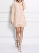 Pink Girly Crew Neck Paneled Mini Dress