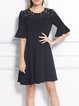 Frill Sleeve Crew Neck A-line Plain Casual Mini Dress