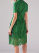 Green Plain Short Sleeve Paneled V Neck Midi Dress