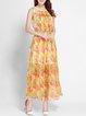 Yellow Sleeveless Crew Neck Maxi Dress