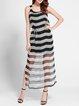 Black Printed Silk Casual Maxi Dress