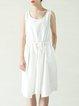 White Casual Crew Neck Asymmetric Midi Dress