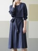 Long Sleeve Casual Rayon Midi Dress