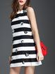 Black Stripes Sleeveless Crew Neck Mini Dress