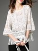 White Cotton-blend 3/4 Sleeve Fringed Cropped Top