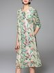 Multicolor 3/4 Sleeve Floral-print Midi Dress