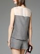 Crew Neck Sleeveless Stripes Casual Two Piece Romper