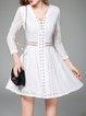 Long Sleeve Pierced Plain Polyester Casual Mini Dress