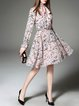 Pink Polyester Long Sleeve Floral Printed Midi Dress