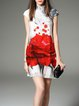 Short Sleeve Stand Collar Floral Vintage Mini Dress