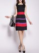 Black A-line Stripes Sleeveless Midi Dress