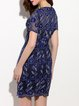Blue Embroidered Polyester Short Sleeve Sheath Mini Dress