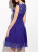 Royal Blue Floral A-line Paneled Elegant Midi Dress