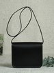 Black Leather Fold-over Flat Top Crossbody