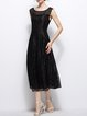 Black Sleeveless Polyester Crew Neck A-line Midi Dress