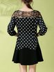 3/4 Sleeve Polka Dots Casual Mini Dress